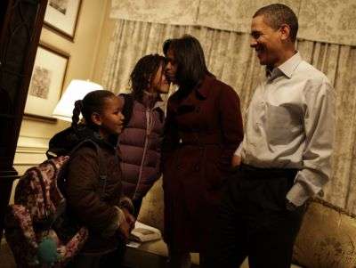 malia sasha michelle barack obama first day of school