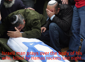 Israeli man prays over body of his wife killed by hamas rockets