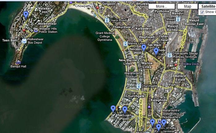 Map of Mumbai attack sites